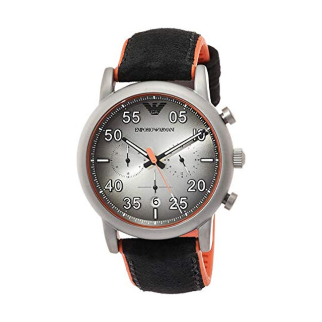 05d2004a 100% New Emporio Armani AR11174 Luigi Black Leather Orange Quartz Men's  Watch