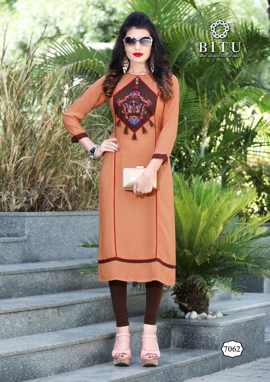 UK-stock New Indian Long Soft Heavy Rayon Embroidered Kurtis Tunic Tops Kurta