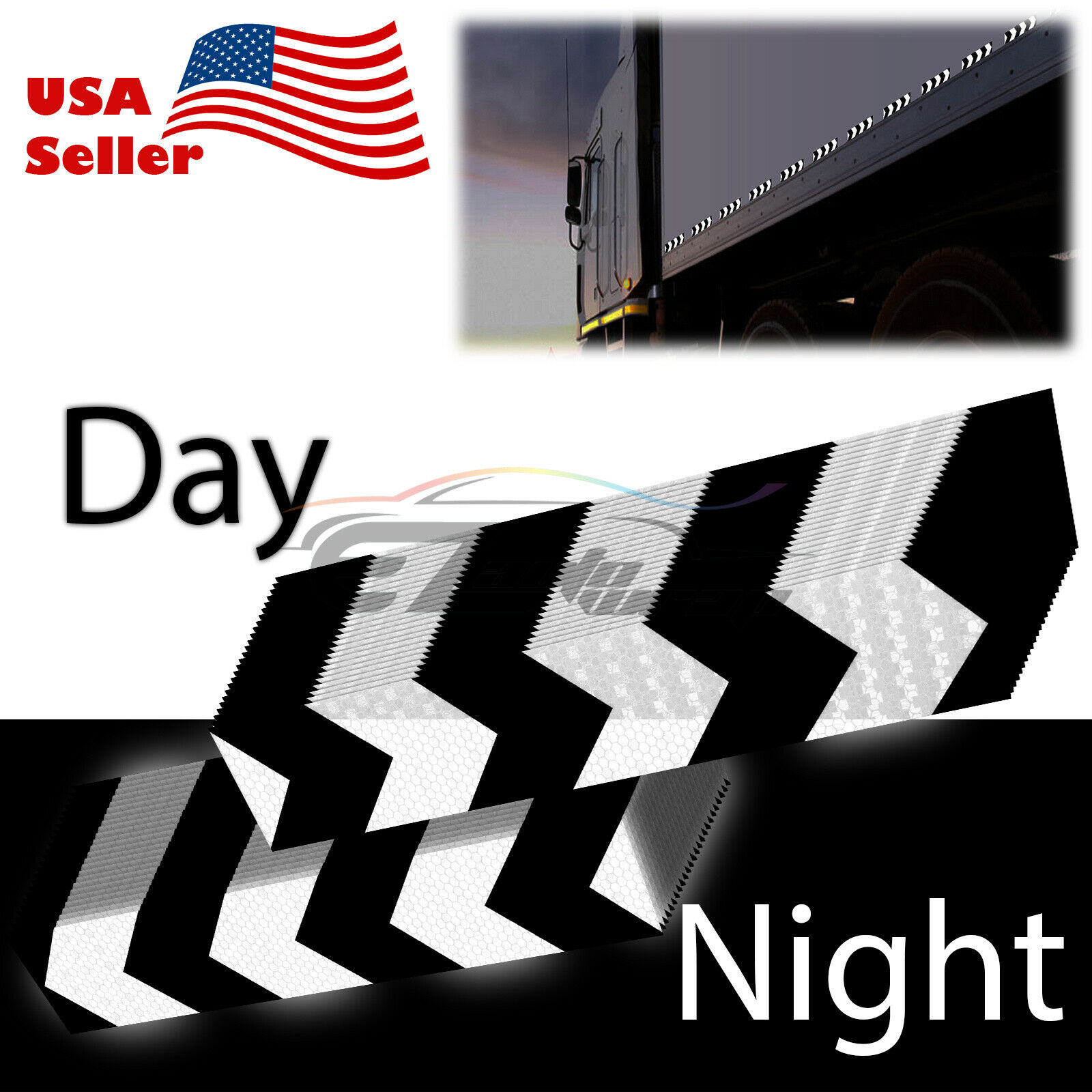 DOT-C2 Conspicuity Arrow Reflective Tape Strip 1 Foot Safety Warning Trailer RV