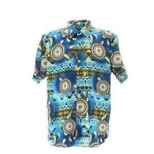 Kurzarmhemd-Groesse-XL-Paisleymuster-Vintage-Shirt-Retro-Print