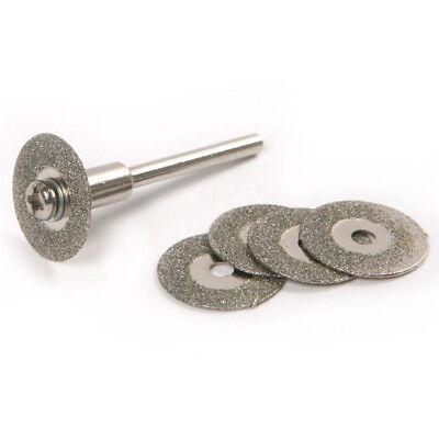 Hot 5PCS 22mm Emery Diamond cutting blades Drill Bit+1 Mandrel Universal NEW