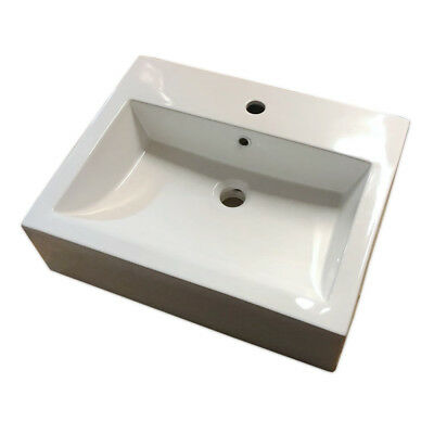 Bologna Sit On 1 Tap Hole Basin Bathroom Sink White Square Style 1 Tap Hole
