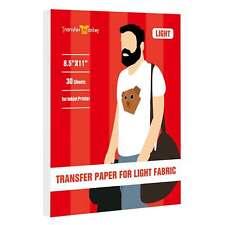 Printable Light Transfer Paper For Inkjet 30 Sheet Iron On 85x11 Cotton T Shirt