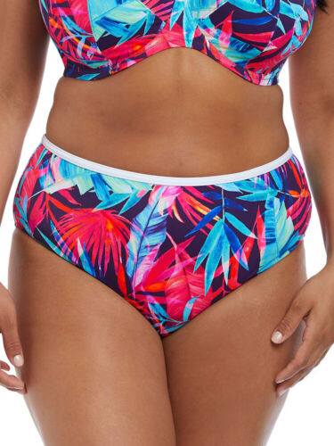 Elomi Paradise Palm High Rise Bikini Brief 7144 Fully Lined Swim Bottoms Ink