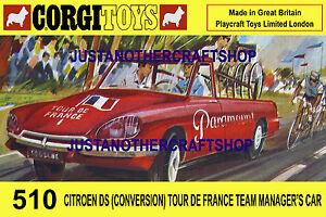 Corgi-Toys-510-Tour-De-France-Citroen-Tamano-A3-Cartel-Anuncio-folleto-rotulo