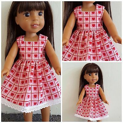 Wellie Wisher Heart Dress Handmade for 14.5 Inch Doll