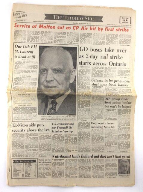 Vintage July 26 1973 Toronto Star Front Section Newspaper ...