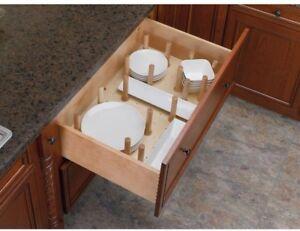 Details About Kitchen Drawer Dividers Cabinet Organizer Holder Plate Dish Dinnerware Wood Peg