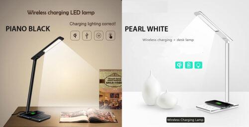 Qi Inalámbrico LED de lectura de Oficina Mesa Mesita De Noche Lámpara De Escritorio Iphone 8 X XS XR S9 Note 9