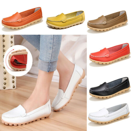 Womens Casual Ballet Flats Oxfords Leather Shoes Lazy Loafers Peas Boat Comfort
