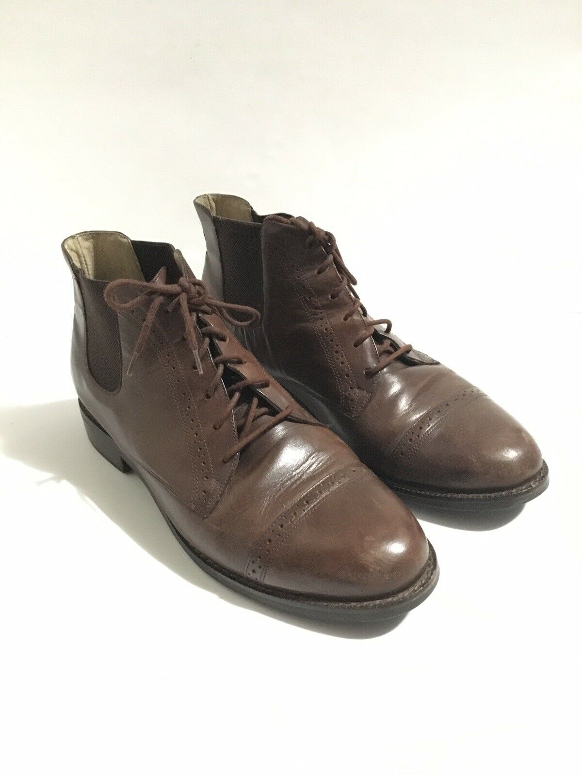 Ariat Leather shoes Ankle Lace Up Cap Toe Ridding Brazil Dark Brown Women's 9M