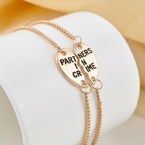 "2pcs /""Partners in Crime/"" Bracelet Anklet Friendship Set Best Friends Gift J Q~GQ"