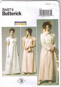 Regency Empire Wedding Dress Gown Jane Austen Costume Pattern Sz 14 ...