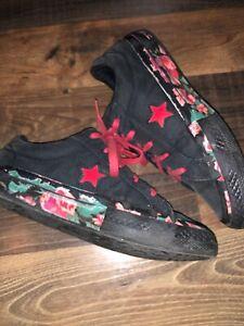 Star Shoes Black Red Floral Big Girls