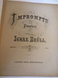 """Ignaz Brüll : """" Impromptu """" Op 1 Profitieren Sie Klein Alte Noten 37 Nr"""