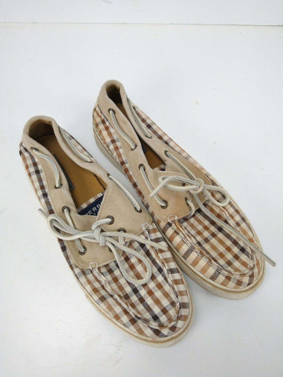 Sperry Top Sider Canvas Original Boat Shoes Womens Size 9 Brown Plaid Slip On