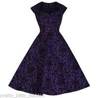 PRETTY KITTY PURPLE BLACK FLOCK VINTAGE SWING ROCKABILLY PARTY PROM DRESS 8-24