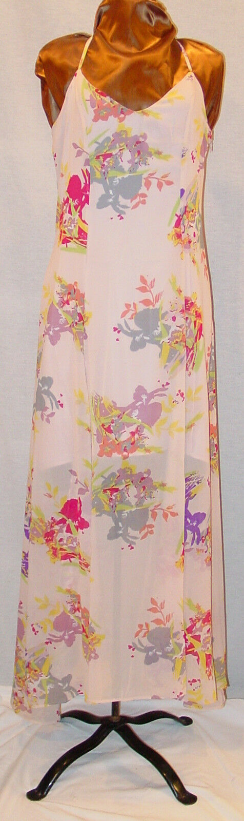 W118 BY WALTER BAKER PINK FLORAL LONG SPAGETTI STRAP SUMMER DRESS MEDIUM NWT