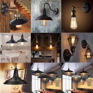 Vintage-Retro-Industriel-Plafonnier-Suspension-Abat-jour-Lampe-Lumiere-Pendentif