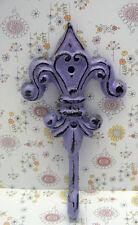 Fleur de lis Cast Iron Lilac Lavender Wall Hook French Paris FDL Shabby Chic