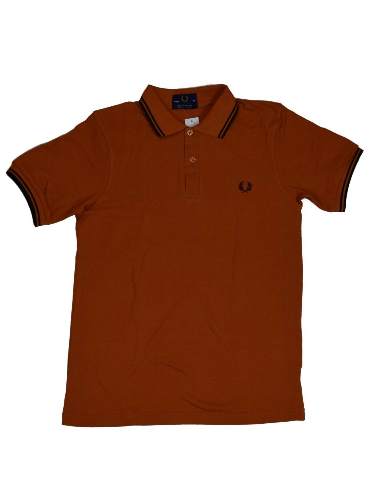Fred Perry Polo - Shirt M12 448 orange   black Made in England  5376