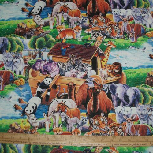 Cotton Fabric DIGITAL Noah/'s Ark Animals Elephant Giraffe Zebra Panda Fox  BTY