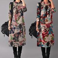 Retro Boho Floral Women Cotton Linen Casual Loose Long Maxi Shirt Dress Kaftan