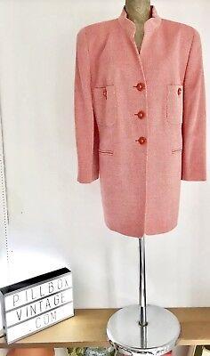 """""""louis Feraud"""" Vintage Anni'80 Rosso Con Motivi Giacca/cappotto Pura Lana-taglia 18-mostra Il Titolo Originale Prezzo Ragionevole"""