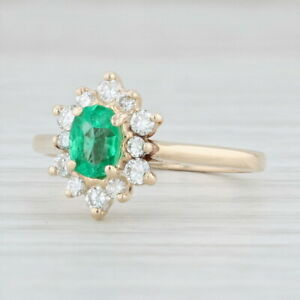 0-67-Emerald-Diamond-Halo-Ring-14k-Yellow-Gold-Sz-6-25-May-Birthstone-Cathedral