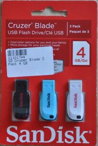SanDisk 3 x USB FLASH DRIVE je 4GB, schwarz, blau, weiß, Neu & OVP !!!