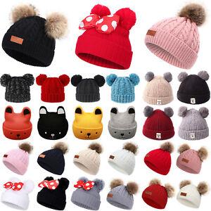 C.C Cute Toddler Kids Girl/&Boy Pom Winter Warm Crochet Knit Hat Beanie Cap cc