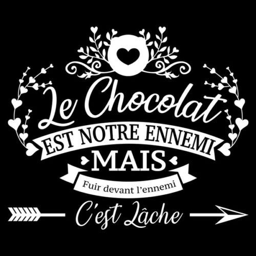 """30x35 cm à 60x70 cm Sticker Vintage Texte /""""Le Chocolat est notre ennemi.../"""""""