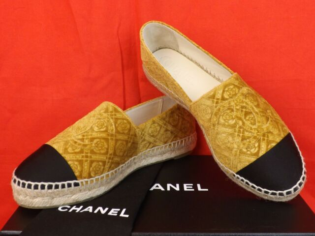 391cfe918 Frequently bought together. 17A CHANEL GOLD VELVET CAMELLIA FLOWER CC LOGO  DOUBLE SOLE ESPADRILLES FLATS 40
