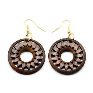 One-Pair-Brown-Wooden-Round-Donut-Earrings-3-5cm-Ethnic-African-Style-Jewellery