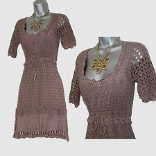 KAREN MILLEN Taupe 20's Style 3D Flowers Crochet Cocktail Dress size 1 UK 8 10