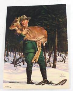 "Rare ""Rescued"" by J.F. Kernan Salesman Sample Calendar Litho Print ~ 6.75""x5"""