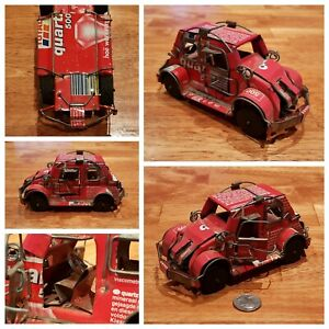Vintage-1980-039-s-Handmade-Metal-Tin-Car-with-Total-SA-Quartz-500-Oil-Can-and-Wires