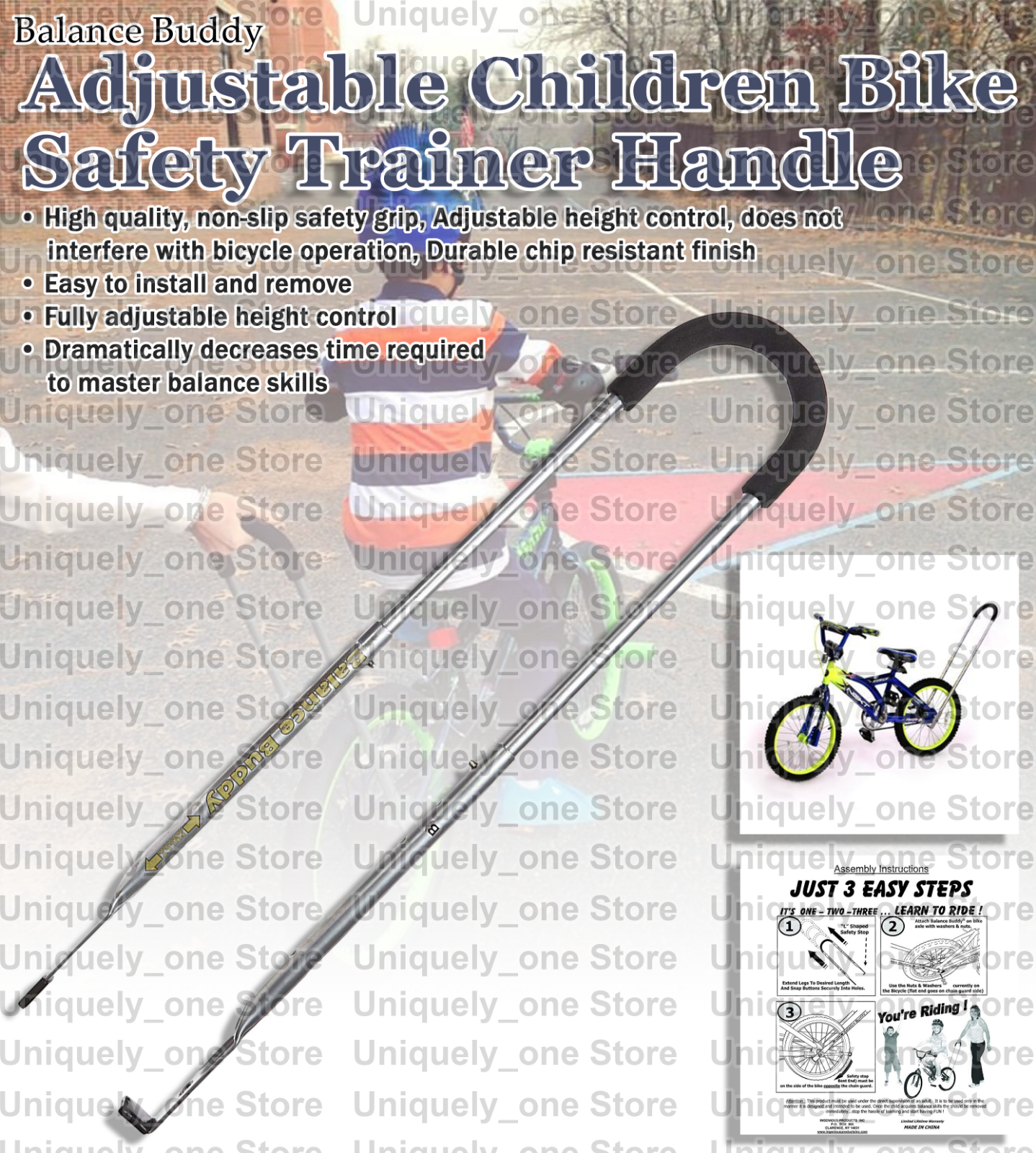 Balance Buddy Adjustable Bike Training Bicycle Trainer Handle Non Slip Safety...