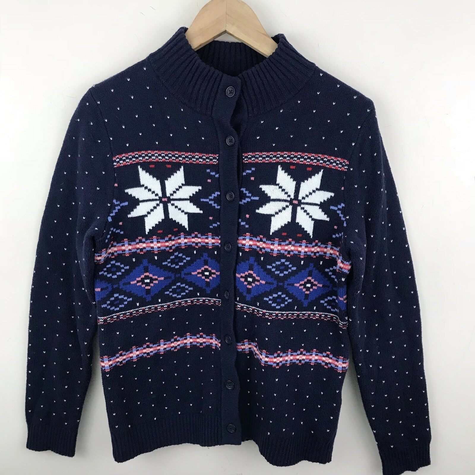 Lands End Womens S Cardigan Fair Isle Navy bluee Snowflake Button Down Sweater Y1