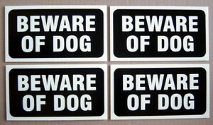 LOT-OF-4-PLASTIC-CARDBOARD-SIGNS-4-034-x-8-034-BEWARE-OF-DOG