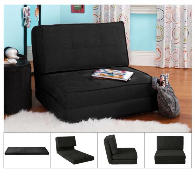 Convertible Chair Sleeper Bed Lounger Sofa Dorm Teen Room Bedroom Black Flip Out For Sale Online Ebay