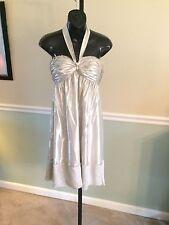 BCBG Max Azria Silver Metallic Shimmery Halter Silk Blend Dress - Size 4
