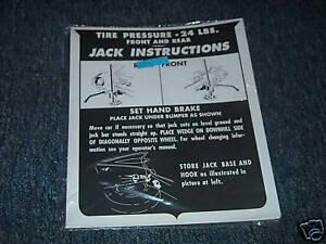 1962 CADILLAC JACK INSTRUCTION NOTICE