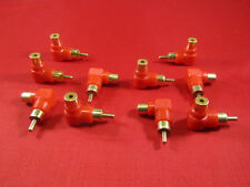 10X RCA Male to Female Right Angle Adapter 90 Degree, Red.