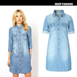 e69b55d5867 UK Fashion Womens Ladies Half sleeve Denim Shirt Dress Jean Dresses ...