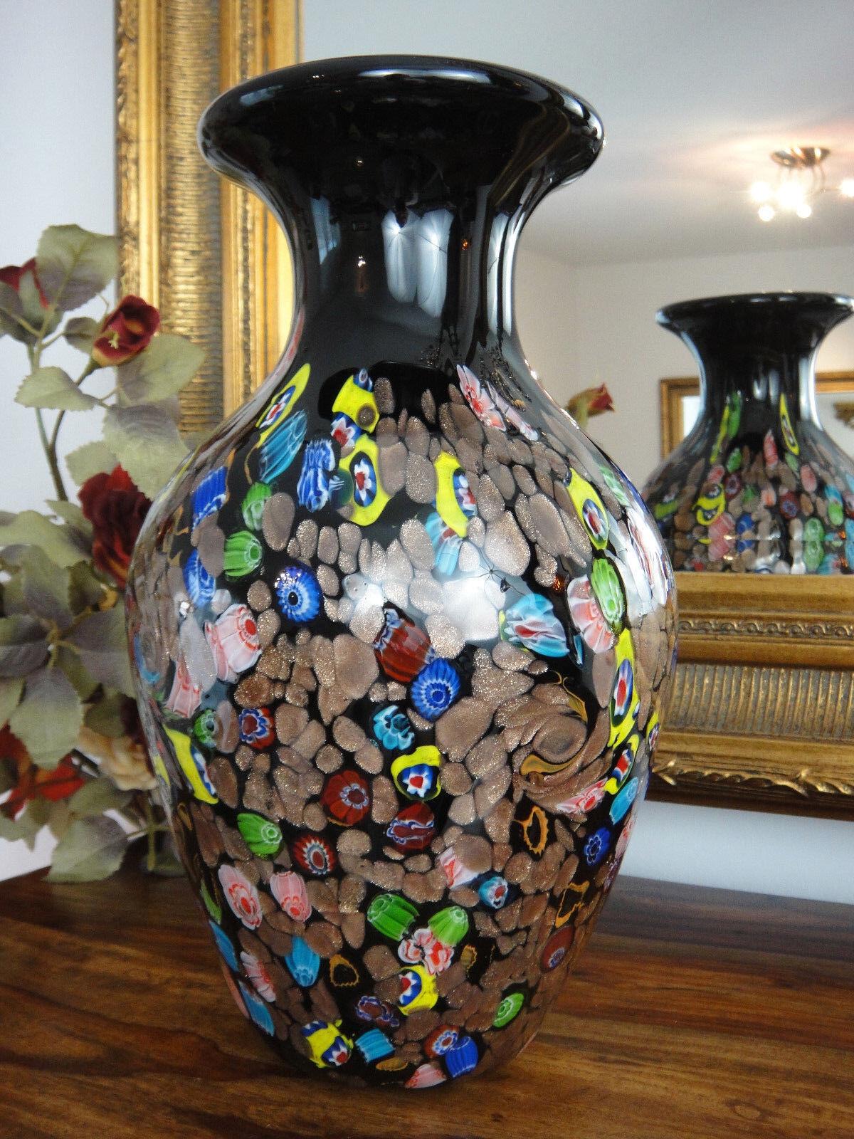Luxus Vase Kristall Glas Kunst Stil Murano Blaumenvase Edel Edel Edel Glasvase Jugendstil fcfcbd
