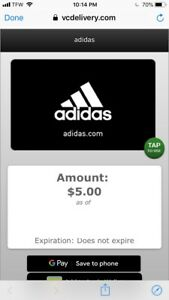uk availability 017b0 ada60 Image is loading Five-Dollar-Adidas-Gift-Card