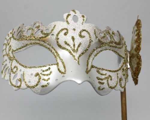 White /& Gold Venetian Masquerade Party Prom Carnival Eye Mask Hand Held Stick