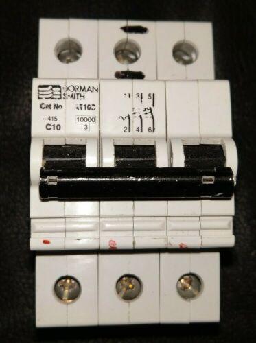Dorman Smith AT10C C10 10 Amp 3 Pole Triple Pole MCB