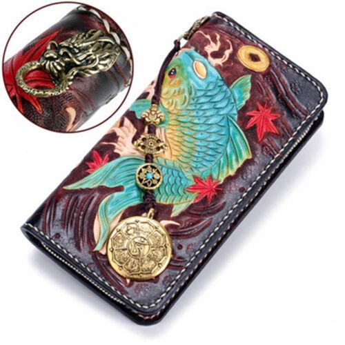 Women/'s Leather Bifold ID Card Holder Pocket Purse Carp Fish Koi Wallet Clutch